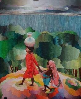 Niñas en busca de agua, óleo/lienzo, 2005