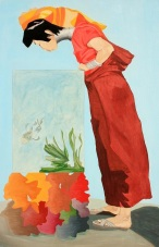 Mujer Kayan, óleo/lienzo