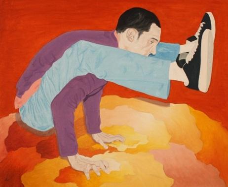 Adrián bailando break, óleo/lienzo