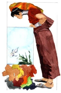 Mujer Kayan, acuarela