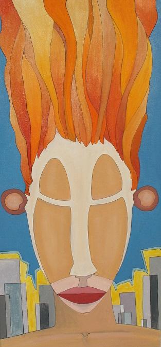 Máscara, óleo/lienzo, 35 x 65, 2011