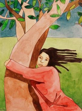 Mujer y árbol