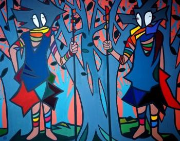 Guardianes del bosque, 100x80, óleo/lienzo, 2017