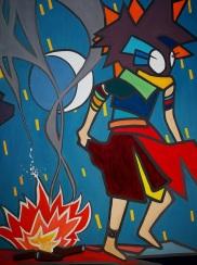 Danza del fuego, 60x80, óleo/lienzo, 2017
